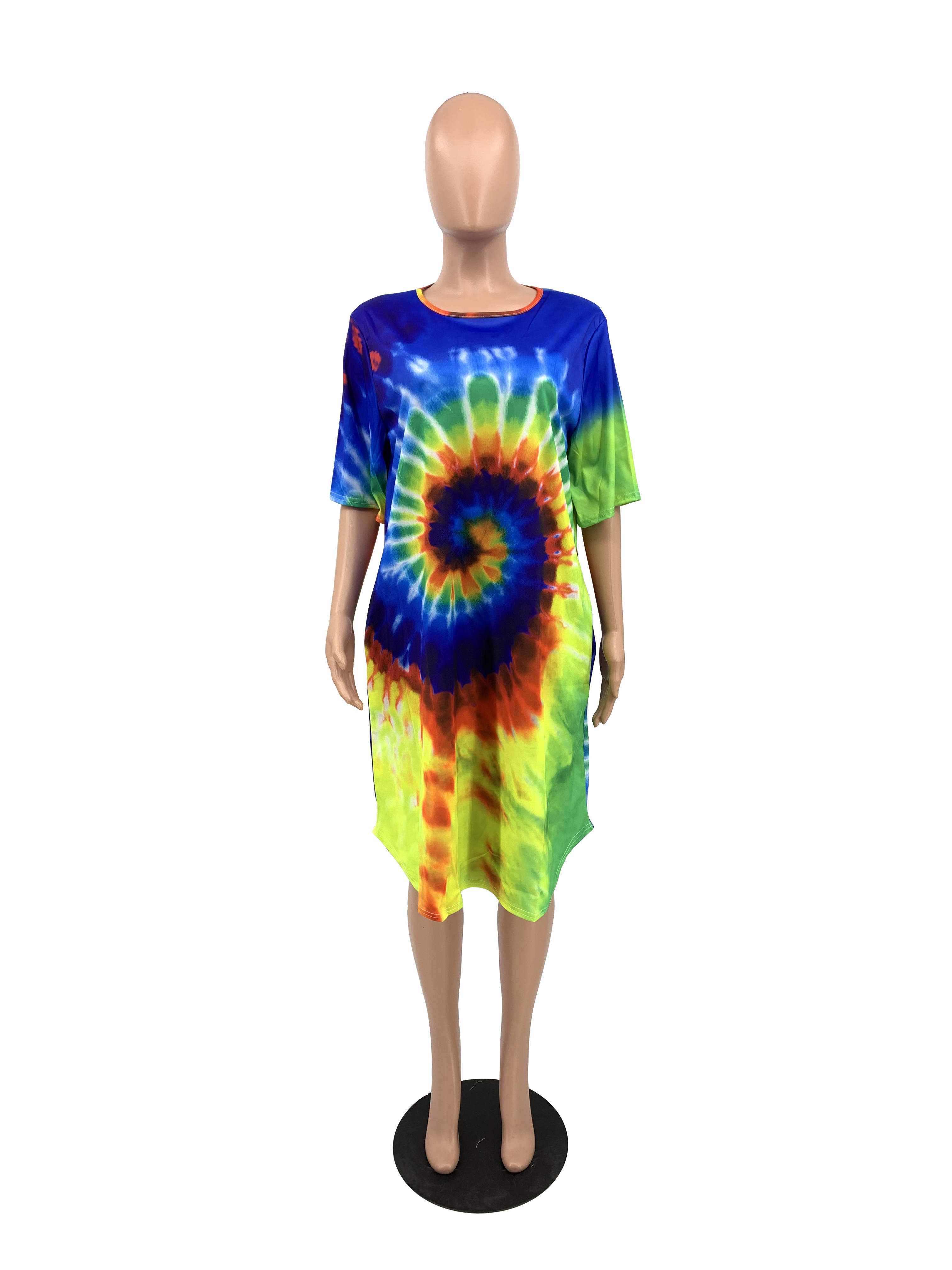 H1203 Plus Size Short sleeve Round collar tie dye printing Casual Women T shirt Dress