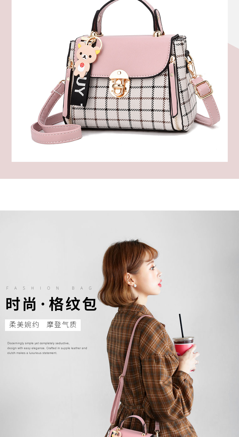 Fashion Ladies Womens Plaid Hobo Satchel Handbags Korean Style Crossbody Shoulder Bag Tote Purse