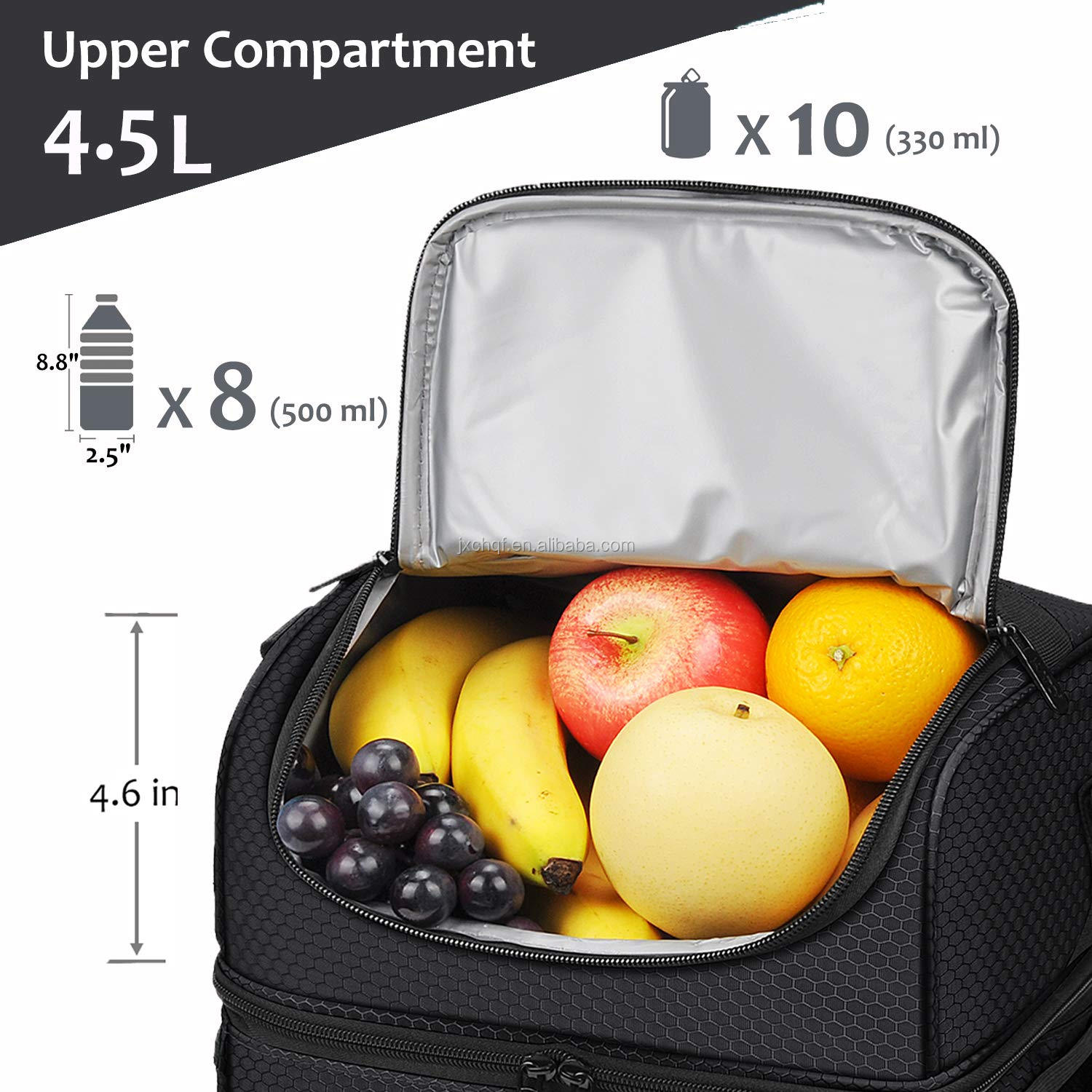 Extra Large Lunch Bag - 13L/ 22 Can Insulated Adult Reusable Meal Prep Bento Box Cooler Tote with Dual Compartment