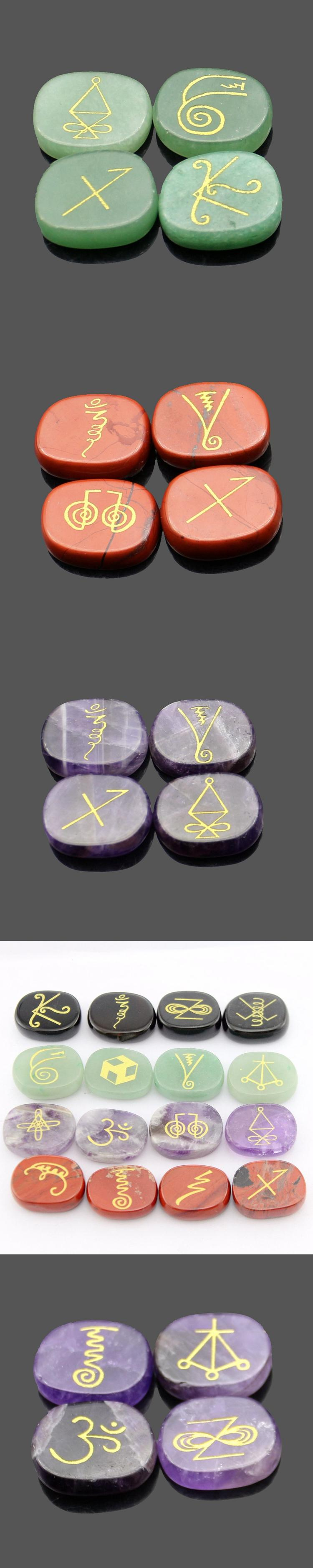 Factory cheap price pocket stones engraved 7 piece chakra stone crystals healing