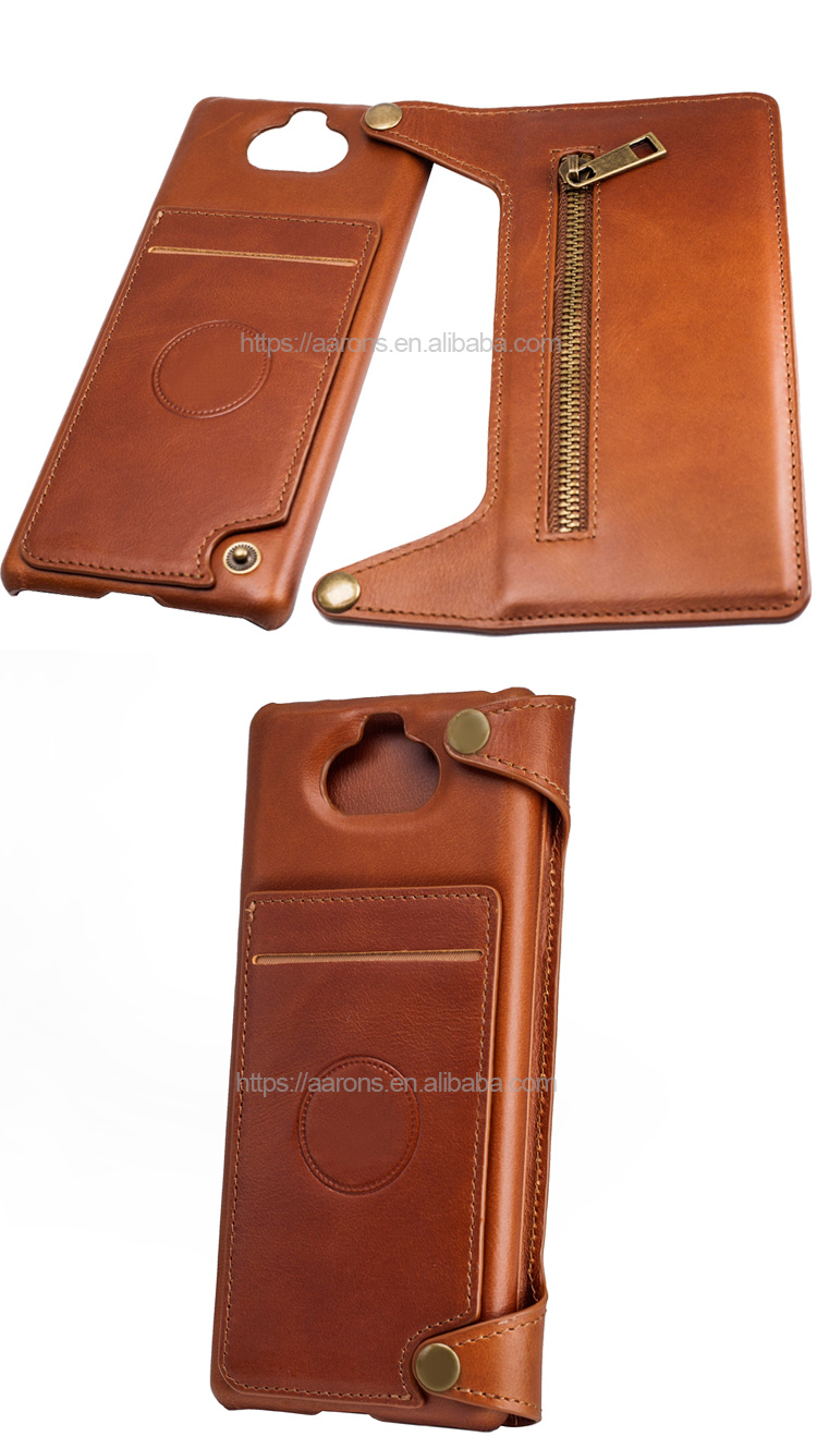 Promotion factory price leather flip phone wallet case with kickstand For Sony Xperia 8