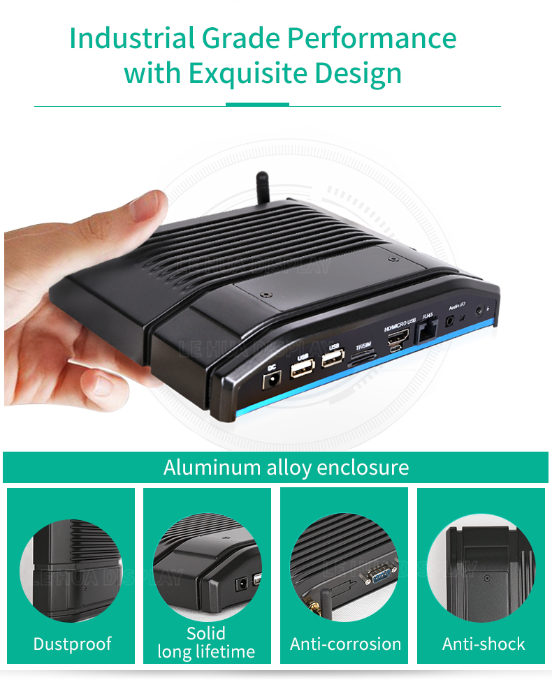 Customized Android Fanless Mini Embedded Box PC with Rs232/Lan Port/WIFI/GPS