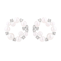 ANKA New Design Round Garland Stud Earrings Crystal From Czech Vintage Ear With Small Pearl Christmas Gift Jewelry E137651