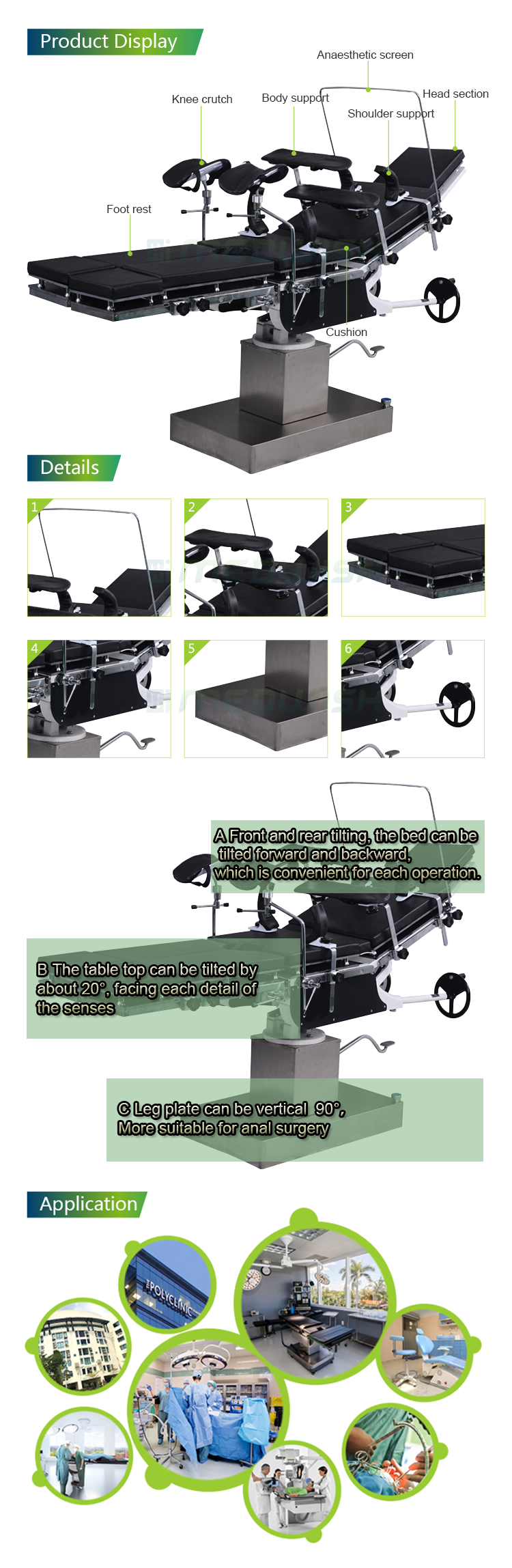 Super quality hospital medical china manufacture economical multi functional surgical manual hydraulic operating table