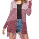 Wholesale Personalized Winter Woman Medium Length Knit Cardigan Tassel Sweater Jacket