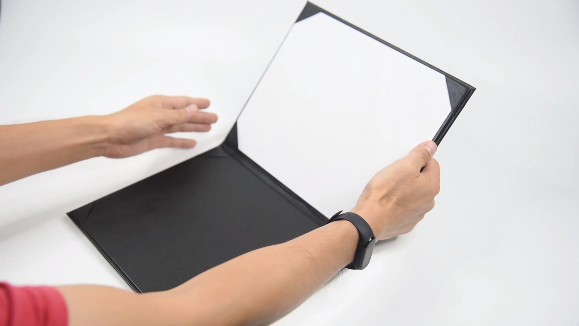 공장 맞춤형 도매 A4 가죽 인증서 파일 폴더 졸업