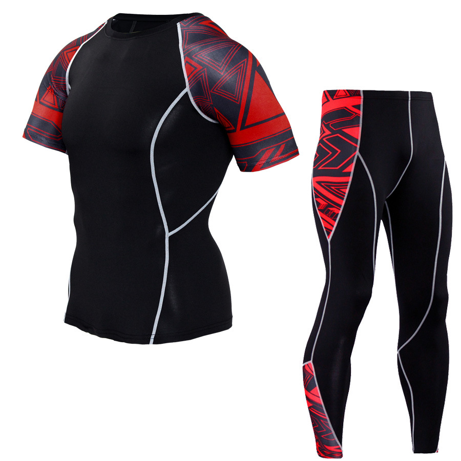 Men Sportswear Compression Sport Suits Quick Dry Running Sets Clothes Sports Joggers Training Gym Fitness Tracksuits Running Set 6
