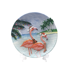 Cheap Plates Wholesale table decoration beach design round coffee tea Disc Flamingo resin crafts