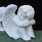 Factory direct sell customized hand carved white marble cherubs small tombstone