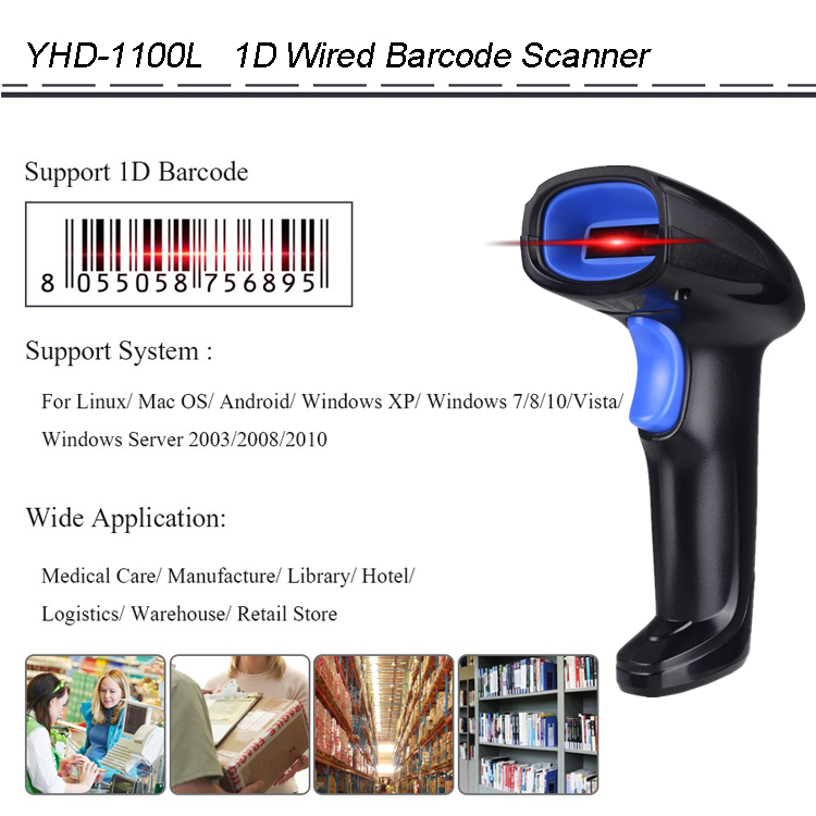 New Design Laser Barcode Scanner with Stand 1D Cheap Bar Code Reader Handsfree