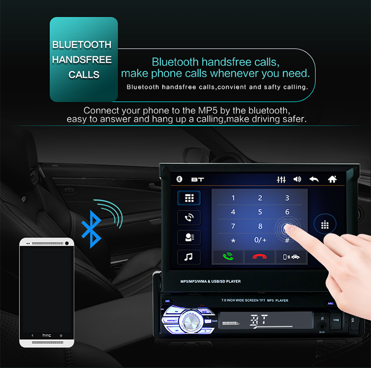 Retractable 1 Din Mobil Radio 7 Inci FM Bluetooth HD Menyentuh Layar USB SD Aux-In Cermin Link MP4 MP5 Pemain