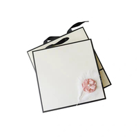 luxury cardboard folding jewelry white black gift packaging box with lid and ribbon tie