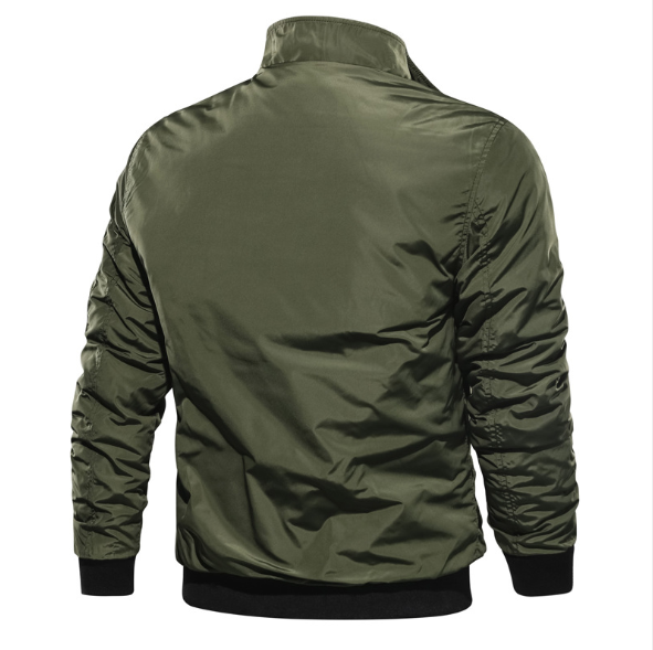 New style jacket casual solid color stand-up collar flight jacket men's