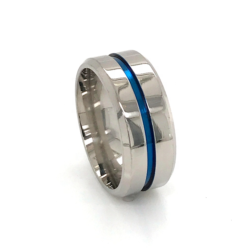 product-Hot Style Stainless Steel Jewelry Titanium Ring Blue Band Wholesale 8mm Mens Ring-BEYALY-img