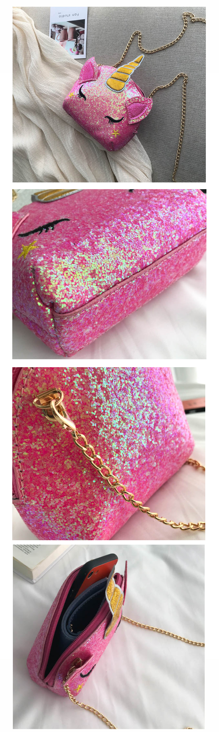 Osgoodway2 Wholesale Funny Unicorn Sequins Coin Purse with Chain Funny Coin Bag Cheap Coin Sling Bag