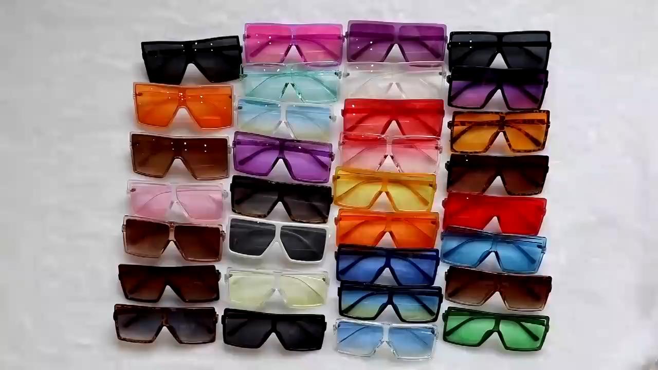 كبير جديد قطعة واحدة أزياء النظارات الشمسية المتضخم المرأة الأحمر ظلال كبيرة نظارات شمسية