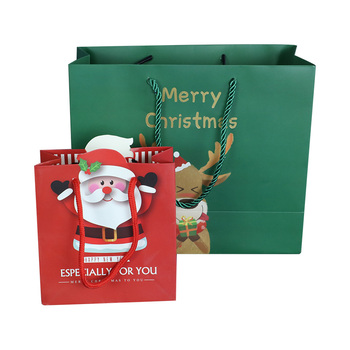 Small size christmas party gift packaging paper treat tote shopping bag with handle for celebration