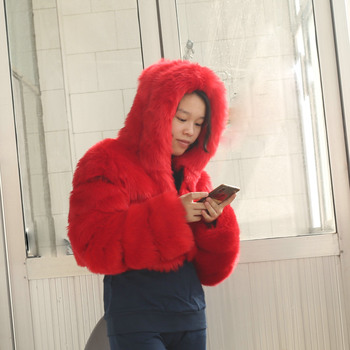 wholesale Fashion winter arket fake fox fur lady coat & faux fur crop quilted cropped jackets for women