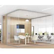 Modern glass partition HK55S 12 มม. อลูมิเนียม office partition wall