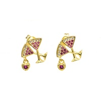 HOT funky 18k gold plated cz rainbow double wine cup jewelry earring cards
