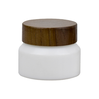 50ml cosmetic cream jar white glass jar cosmetic wooden cap cosmetic packaging jar