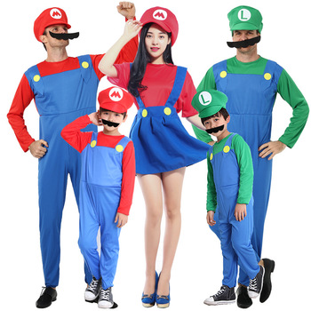2019 for Kids Gifts Adults and Kids Mario Bros Cosplay Dance Costume Set Children Halloween Party MARIO Costume