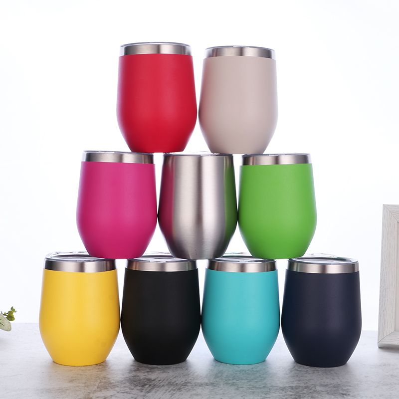 best selling 2020 12oz Double wall stainless steel thermal red wine tumbler vacuum insulated wine <strong>glass</strong> with powder coating