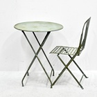 Luckywind Antique Portable Iron Metal Garden Furniture, Garden Bar Set Furniture Patio Bistro Folding Metal Table And Chair Set