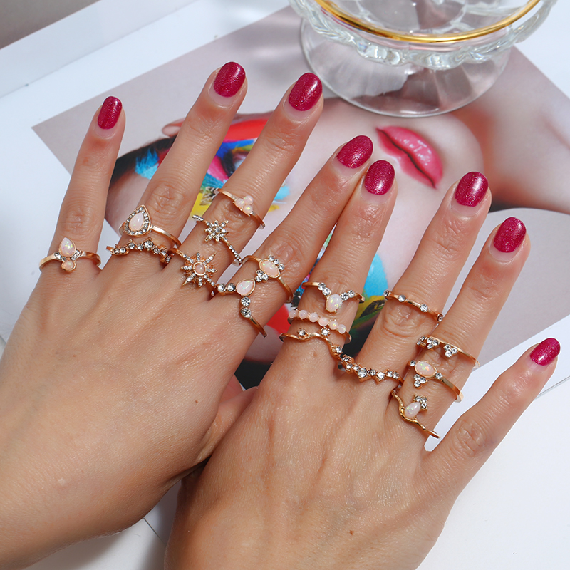 Geometric point diamond gemstone ring retro crown heart water drop six-point star joint ring  16 piece set