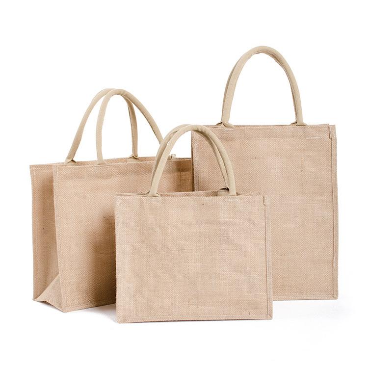 คุณภาพสูงที่กำหนดเองพิมพ์ถุงปอกระเจาขายส่งที่กำหนดเองการพิมพ์โลโก้ธรรมชาติEco Friendly Jute Toteกระเป๋ารีไซเคิลถุงปอกระเจา