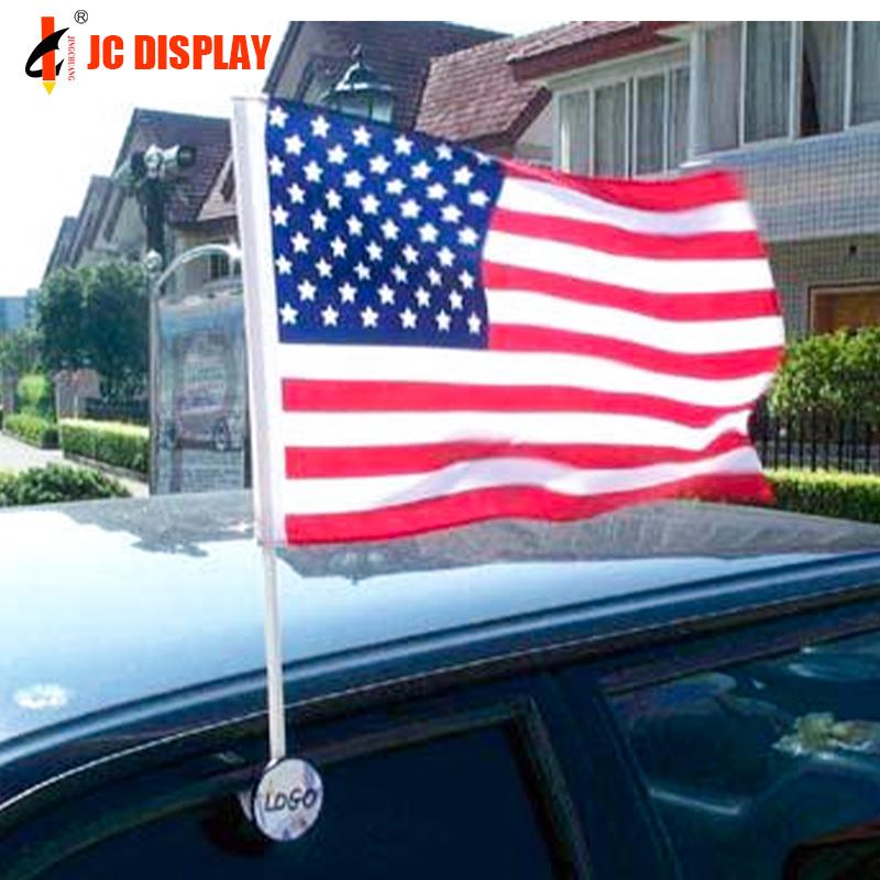Пользовательские двухсторонние окна автомобиля флаг с пластиковым полюсом оптом