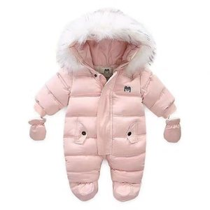 P0123Kids Baby Girls Heavy Down Winter Jacket romper, Snowsuit with Fur hoodies for Girl's Clothing