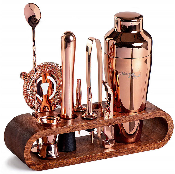 Manufacture supply custom 25-Piece Copper kit bartender stainless with bamboo Stand