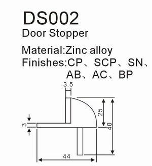 High standard interior zinc round rubber floor mounted door stop