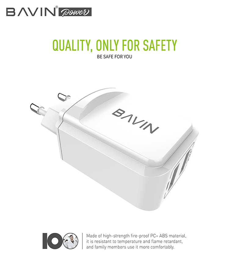 BAVIN  EU UK USB Charger For iPhone Samsung Mobile Phone Charger 5V 2.4A