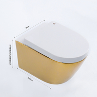 water saving bathroom sanitary wares golden gold color wall hung toilet bowl ceramic with toilet seat