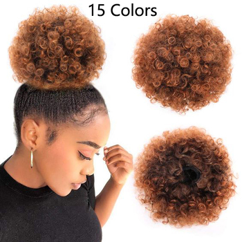 "Short 8"" 15 colors Synthetic Afro Kinky Curly Hair Chignon for Black Women Chignon Hair Pieces Bun"