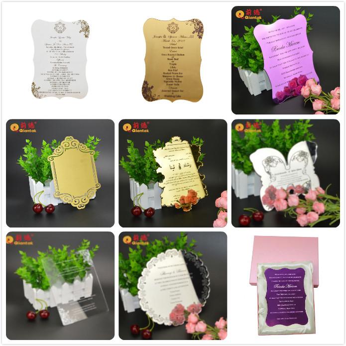 Corte por láser de acrílico espejo de tarjeta de invitación de boda con caja