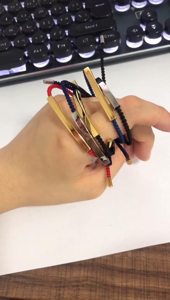 Оптовая продажа на заказ плетеные браслеты дружбы из нержавеющей стали позолоченный бар гравировка верьте регулируемый плетеный браслет веревочки