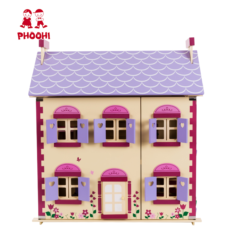 Groothandel Kinderen Pretend Play Simulatie Speelgoed Houten Poppenhuis Met Meubels Accessoires