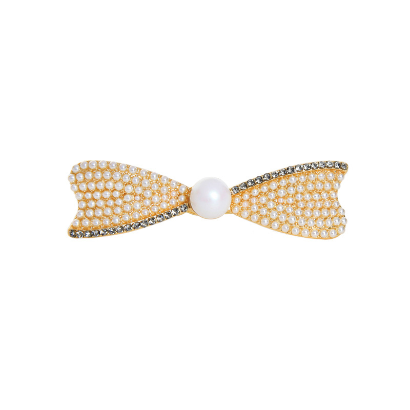 YSJ00240 Trade assurance 2020 bow design fashion elegant hair clip classic pearl headwear diamond word clip hairpin girl gift