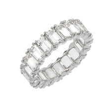 Tendance 925 <span class=keywords><strong>En</strong></span> Argent Sterling CZ Blanche <span class=keywords><strong>Émeraude</strong></span> Baguette <span class=keywords><strong>Bague</strong></span> de Fiançailles