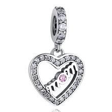 Аутентичные серебряные бусины 925 пробы, подходят Pandora Шарм серебро 925 оригинальный браслет я люблю тебя мама сердце бусы DIY ювелирные изделия(Китай)