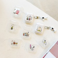 Transparent clear cute cartoon snoopy TPU wireless earphone case earbud cover for airpod accessories for Apple