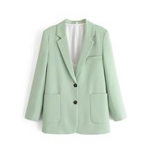 Wixra женский пиджак, лето, осень, красивый, зеленый, пуговица, высокая улица, длинный рукав, пальто, 2020, верхняя одежда(Китай)
