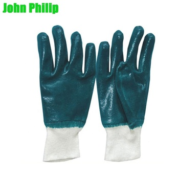 10 inch full dipped rough finish nitrile safety work gloves