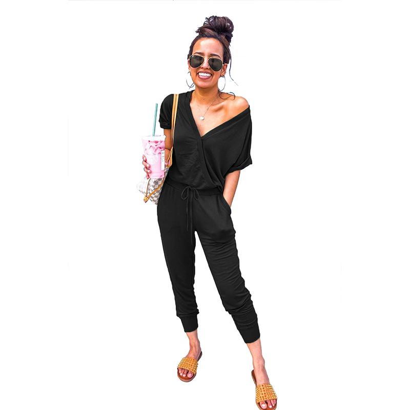 Musim Panas V Neck Warna Murni Casual Trendy Wanita Jumpsuits dan Romper