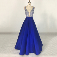 Full Beaded Top Party Wear Long Royal Blue Prom Dresses for girls