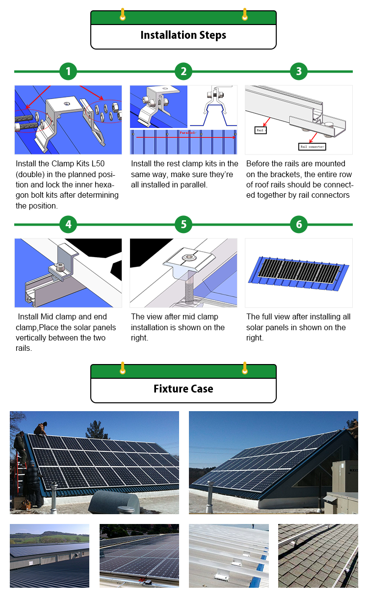 Pitch Tin Metal Roof 50kw Solar Mounting Tracker Structure