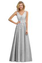 Женское вечернее платье с аппликацией Dusty Rose, длинное кружевное платье с глубоким v-образным вырезом, вечерние выпускные платья(Китай)